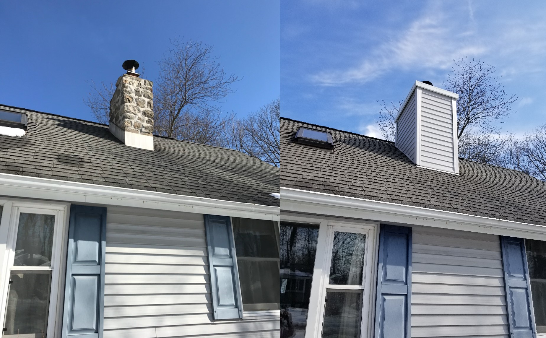 Stone Chimney Before & After Enclosed & Vinyl Siding Installed.
